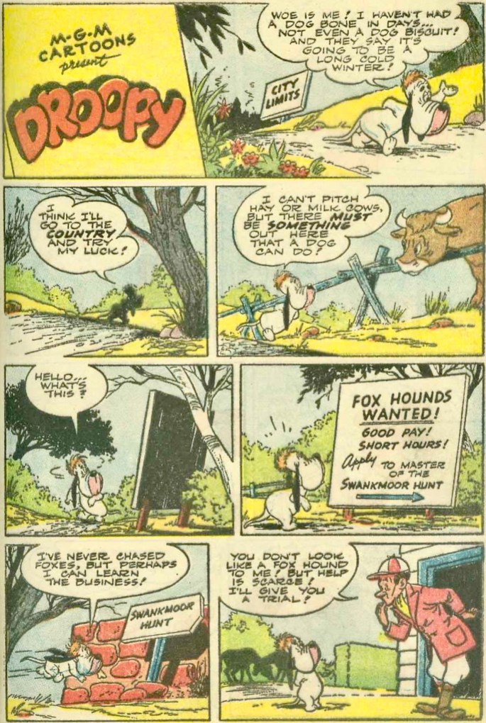 Första sidan med Droopy ur Tom & Jerry Winter Carnival #1 (1952). ©Loew
