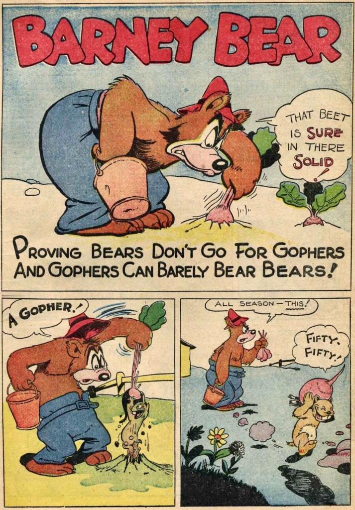 Första sidan med Barney Bear i Our Gang #1. ©Dell