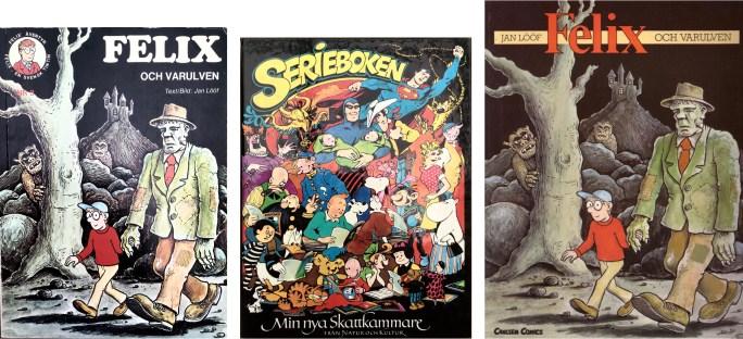 Omslag till album och böcker 1973, 1986 och 1989 med episoden. ©Carlsen/Natur&Kultur