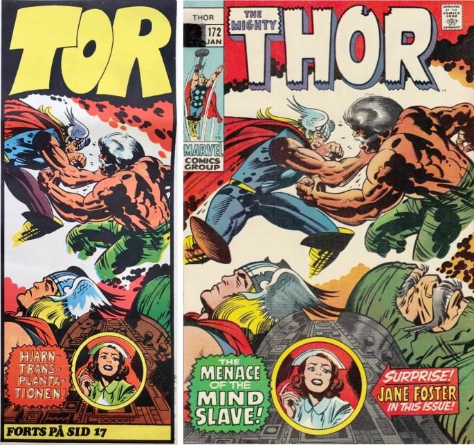 Inledande ruta från framsidan på Serie-Pressen nr 7, 1972, omslag till Thor #172 (1970). ©Marvel
