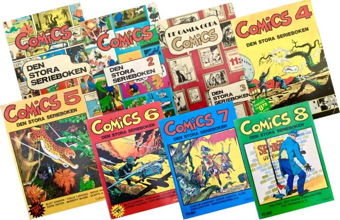 Comics, den stora serieboken, utkom med 8 utgåvor 1970-75. ©Illustrationsförlaget/Carlsen