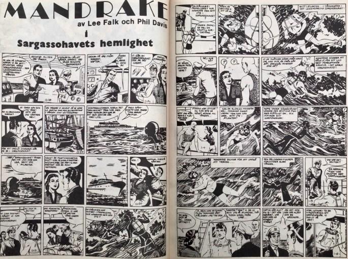 Inledande uppslag med Mandrake ur Serie-Pressen nr 17, 1972. ©Bulls