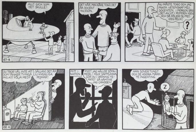 Den ursprungliga fortsättningen från stripp nr 67-4, som var publicerad i SerieSpecial. ©PIB