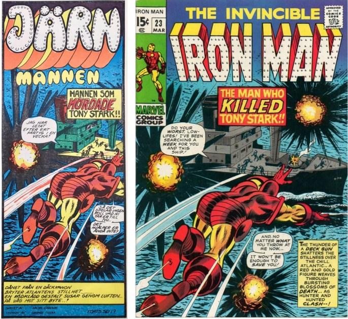Inledande ruta från framsidan på Serie-Pressen nr 4, 1972, och omslag till Iron Man #23 (1970). ©Marvel