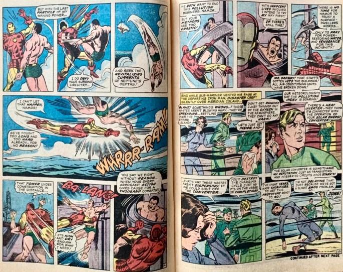 Ett uppslag med motsvarande serierutor i original ur Iron Man #25. ©Marvel