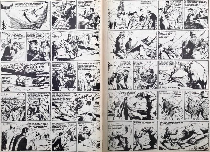 Ett uppslag med Mandrake ur Serie-Pressen nr 16, 1972. ©Bulls