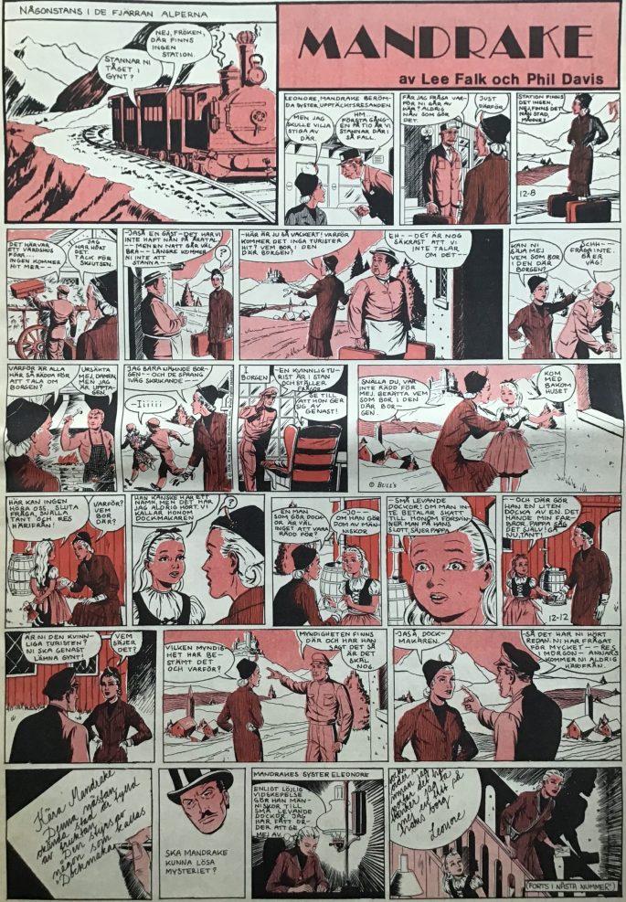 Första sidan med Mandrake i Serie-Pressen nr 1, 1971. ©Bulls
