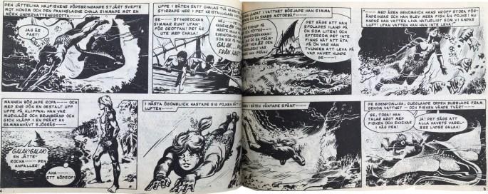 Ett uppslag med Galak, pojken från havet ur Veckans serier, nr 15, 1972. ©IPC