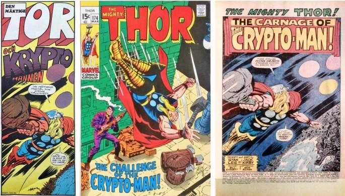 Inledande ruta från framsidan på Serie-Pressen nr 3, 1972, omslag och förstasida ur Thor #174 (1970). ©Marvel