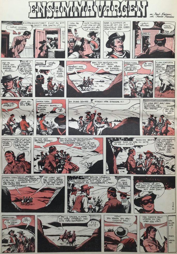 En sida med Ensamma vargen ur Serie-Pressen nr 1, 1971. ©Bulls