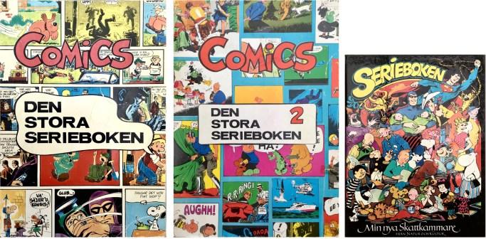 Omslag till Comics, den stora serieboken, nr 1 och 2,  och Serieboken. ©Illustrationsförlaget/Natur&Kultur