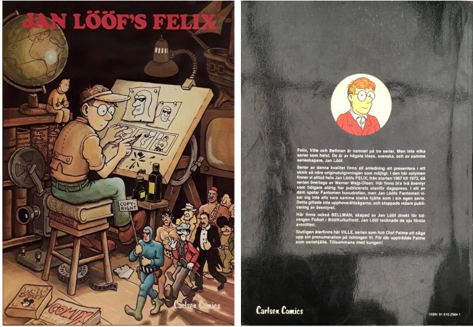 Omslagets fyra- och baksida till Jan Lööf's Felix (1980). ©Carlsen