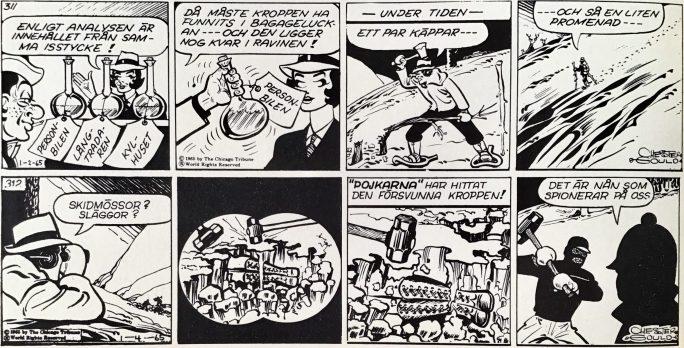 Ett par dagsstrippar med Dick Tracy, ur Comics nr 1. ©PIB