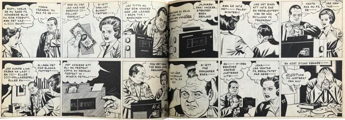 Ett uppslag med Jeff Cobb ur Veckans serier, nr 2, 1972. ©Europa Press
