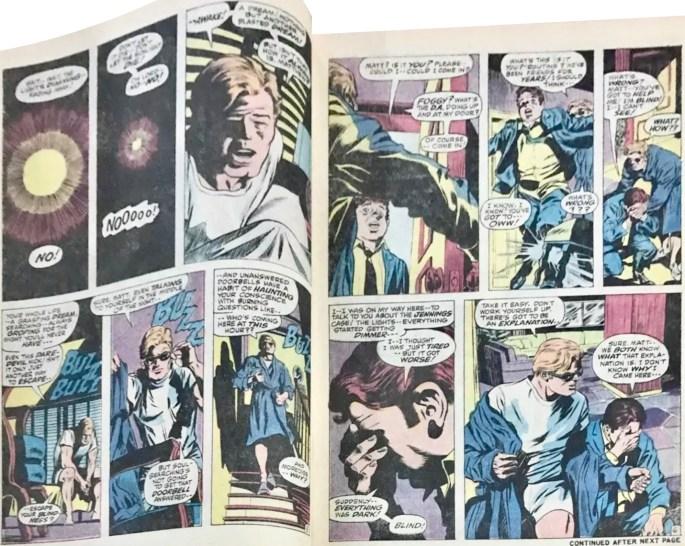 Ett uppslag med motsvarande serierutor i original ur Daredevil #74. ©Marvel