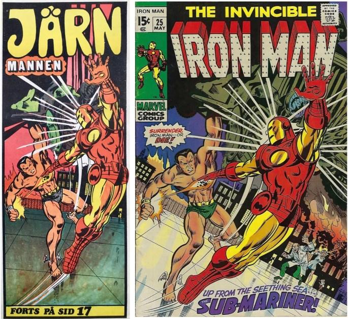 Inledande ruta från framsidan på Serie-Pressen nr 8, 1972, och omslag till Iron Man #25 (1970). ©Marvel