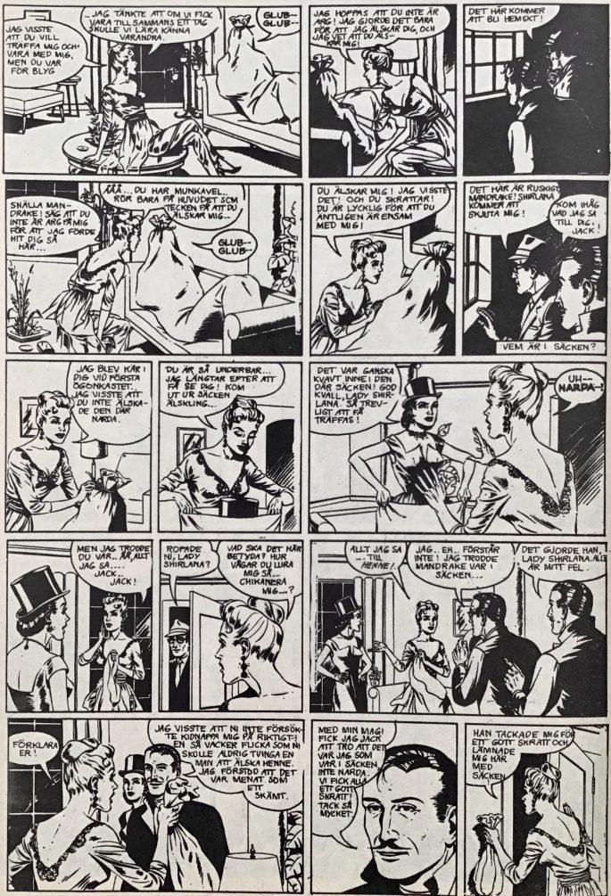 En sida med Mandrake ur Serie-Pressen nr 19, 1972. ©Bulls
