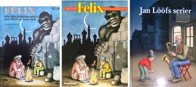 Omslag till album och böcker 1976, 1990 och 2011 med episoden.  ©Carlsen/Kartago