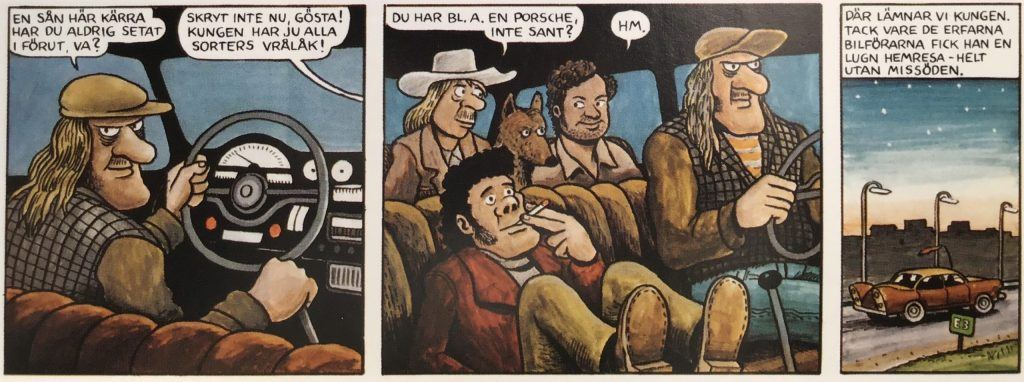 Kungen får skjuts ut ur serien av hjälpsamma raggare. ©Lööf