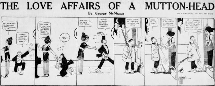 En dagsstripp med The Love Affairs of a Mutton-head av George McManus från söndag 27 oktober 1912. ©Star