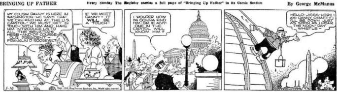 En dagsstripp från 16 januari 1940, när serien utspelar sig i Washington DC. ©KFS
