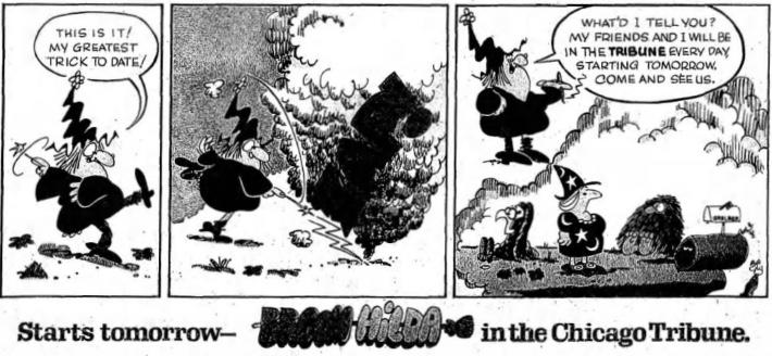 Reklam i Chicago Tribune från 19 april 1970 om serien som startade dagen efter. ©CTS