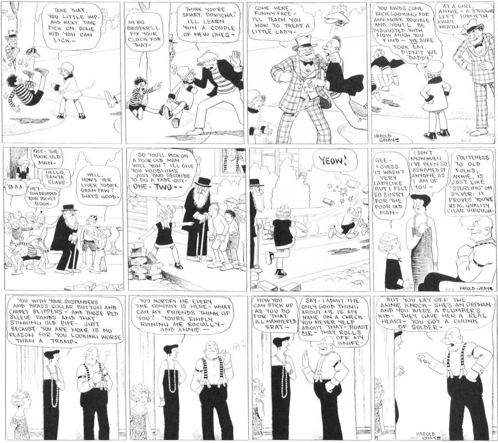 Dagsstrippar med Little Orphan Annie från 7-9 oktober 1924.
