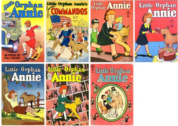 Four Color Comic #12 (1940), #18, 52, 76, 107, 152 och #206 (1948). ©Dell