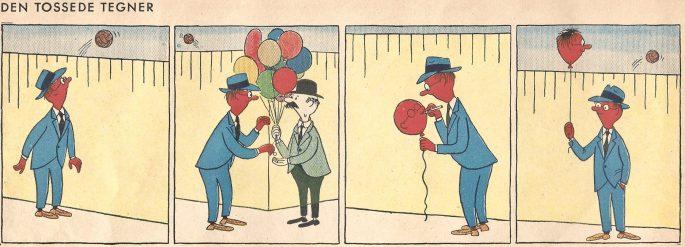 En stripp med Den tossede tegner ur samlingsvolymen (1952). ©PIB