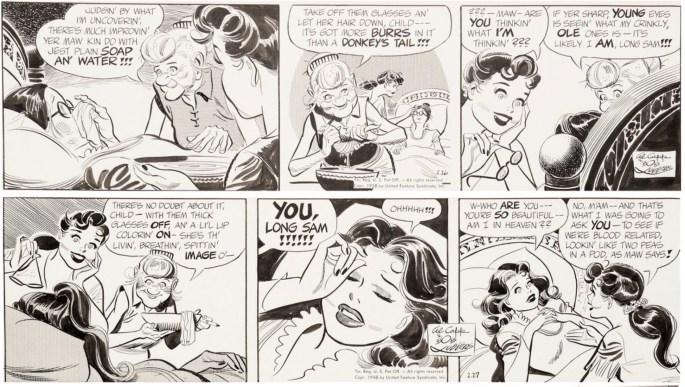 Original till ett par dagsstrippar med Long Sam, från 26-27 februari 1958. ©United Feature