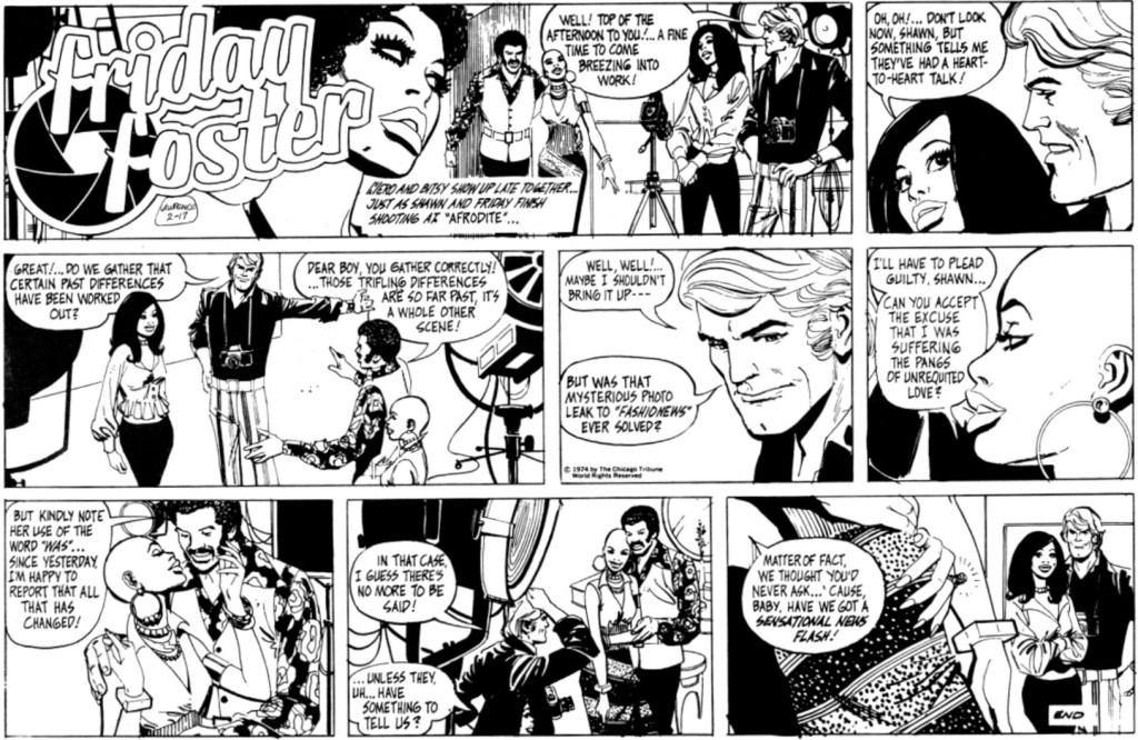 Sista söndagsstrippen med Friday Foster, från 17 februari 1974, tecknad av Gray Morrow. ©CTS