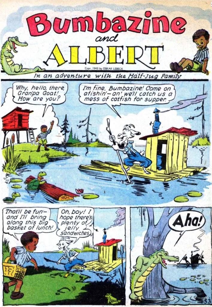 Inledande sida till Bumbazine och Albert ur Our Gang #6 (1943). ©Dell