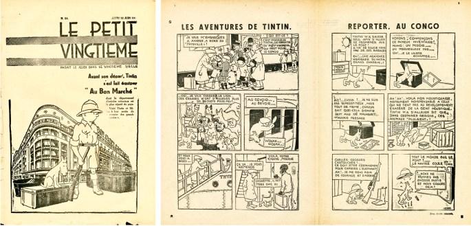 Omslag till Le Petit Vingtième nr 24, 1930 från 12 juni, och ett uppslag från 5 juni med Les Aventures de Tintin, reporter, au Congo. ©Hergé-Moulinsart