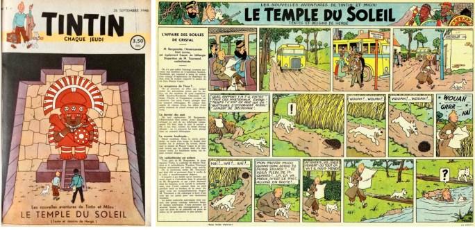 Omslag och uppslag ur Le Journal de Tintin från 26 september 1946. ©Hergé-Moulinsart