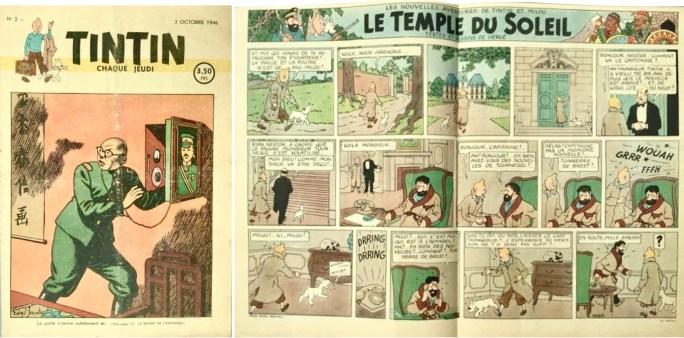Omslag och uppslag ur Le Journal de Tintin n. 2 från 3 oktober 1946, motsvarande sid. 50 och delvis sid 51 i albumet De sju kristallkulorna. ©Hergé-Moulinsart
