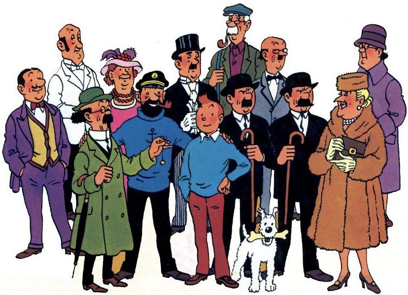 Huvudfigurer och några bifigurer i serien Tintin. ©Hergé-Moulinsart
