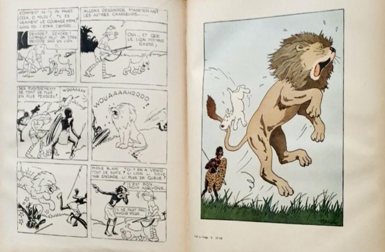 Tintin i Kongo med kompletterande färgbild (1937). ©Hergé-Moulinsart