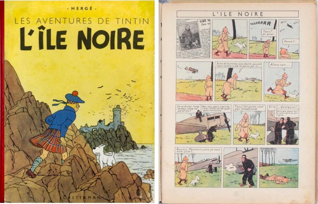 Omslag och inledande sida ur L'Île noire (1943). ©Casterman/Hergé-Moulinsart