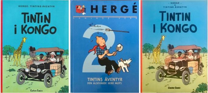 Omslag till seriealbum från 1978, -99, 2004. ©Bonnier/Carlsen