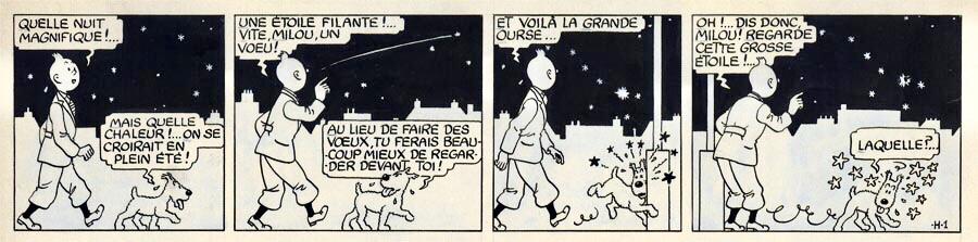 Första dagsstrippen med Tintin från Le Soir måndag 20 oktober 1941. ©Hergé-Moulinsart