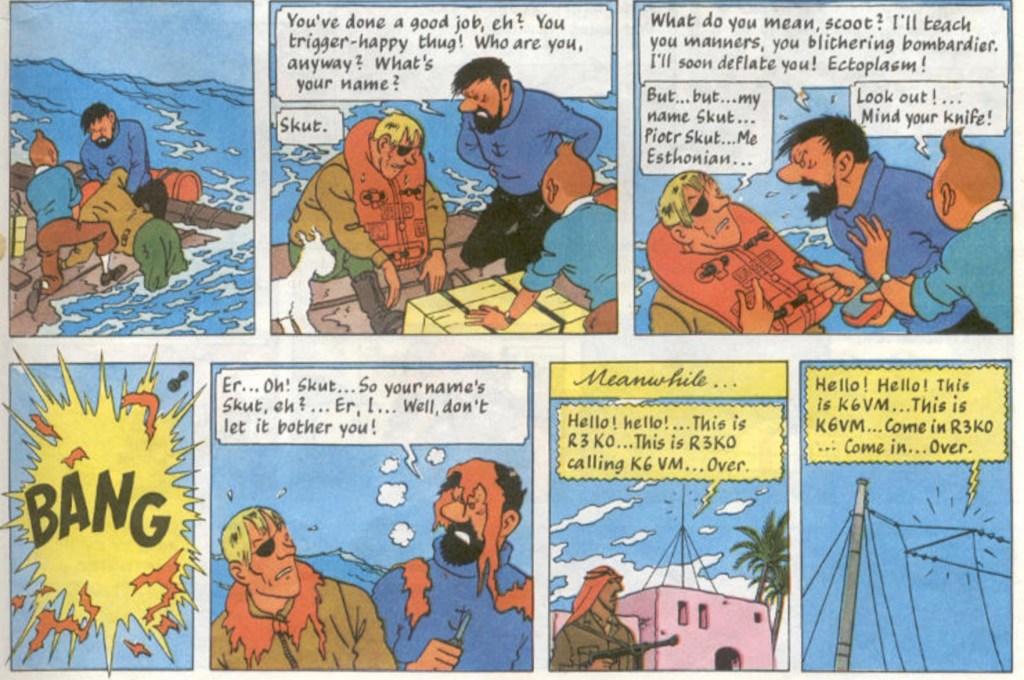 Szut är piloten som beskjuter Tintin och Haddock, men själv blir nerskjuten, och räddad av våra hjältar. ©Hergé-Moulinsart