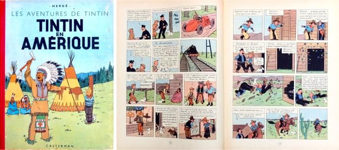 Omslag och ett uppslag ur seriealbumet från 1945. ©Hergé-Moulinsart