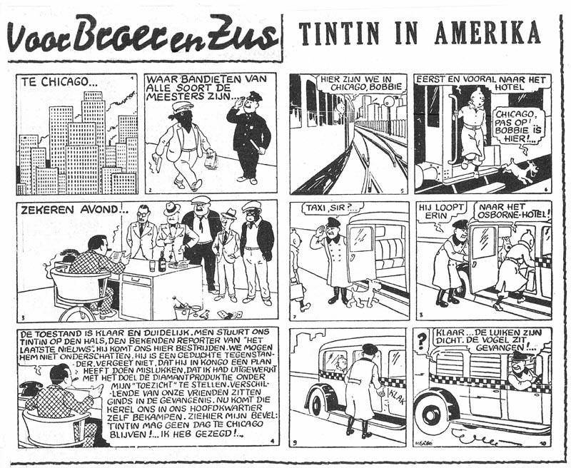 Första uppslaget med Tintin in Amerika, ur Het Laatste Nieuws från 23 oktober 1941. ©Hergé-Moulinsart
