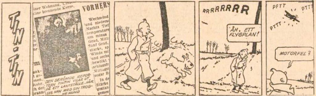 Inledande stripp till den svarta ön med Tintin, i DN från 10 maj 1963. ©PIB