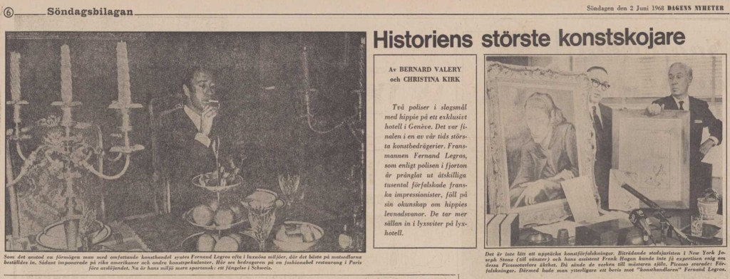 Inledningen till en artikel om Fernand Legros ur DN från 2 juni 1968.