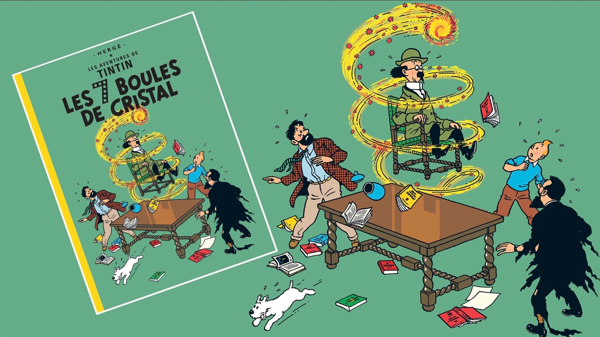 De sju kristallkulorna, med Tintin