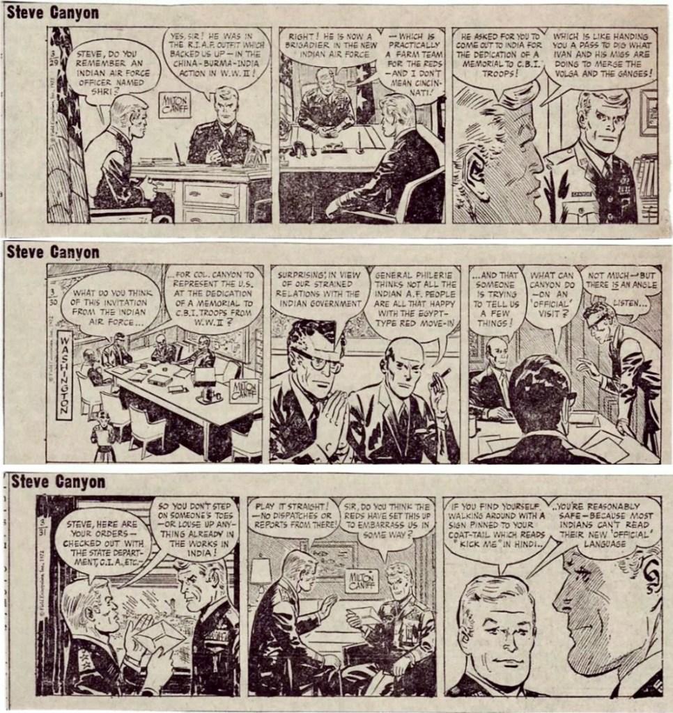 Varför Canyon reser till Indien och vad han har för uppdrag, framgår inte av episoden i Comics, men här är tre strippar från 20-31 mars 1972 med en bakgrund. ©KFS