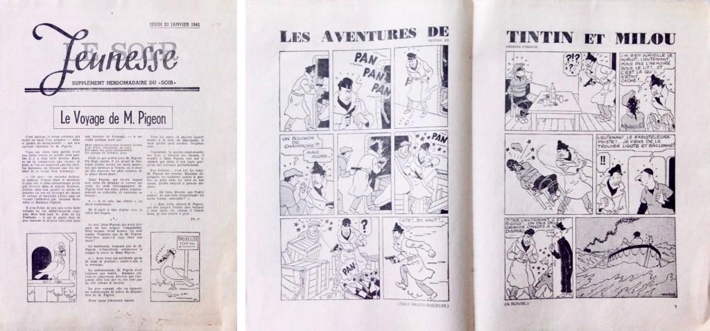Omslag och uppslaget med Tintin ur Le Soir Jeunesse från 3 april 1941. ©Le Soir/Hergé-Moulinsart
