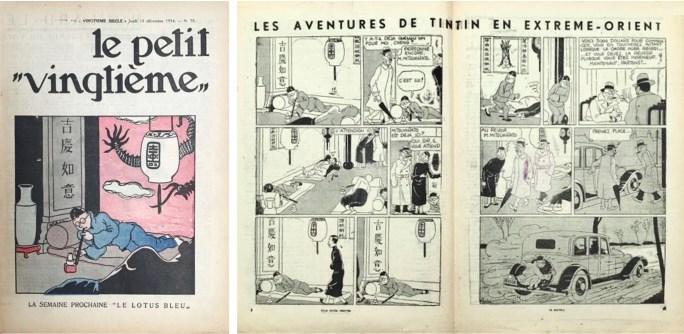 Omslag till Le Petit Vingtième nr 50 från 13 december 1934, och ett uppslag från nr 51. ©XXe Siècle/Hergé-Moulinsart