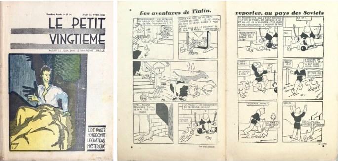 Framsida och uppslag med Tintin ur Le Petit Vingtième n. 14, från 1 april 1930. ©Le XXe Siècle/Hergé-Moulinsart